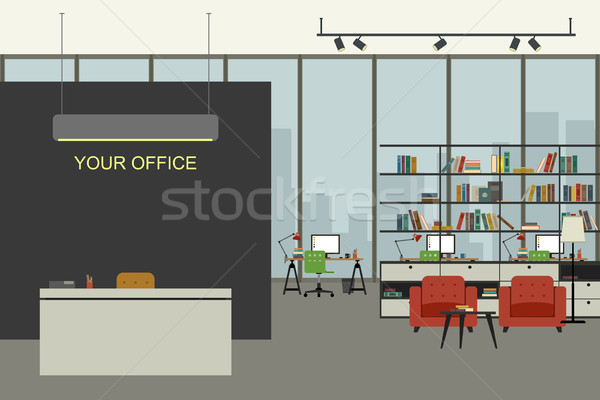 Modern office interior in flat style. Stock photo © biv