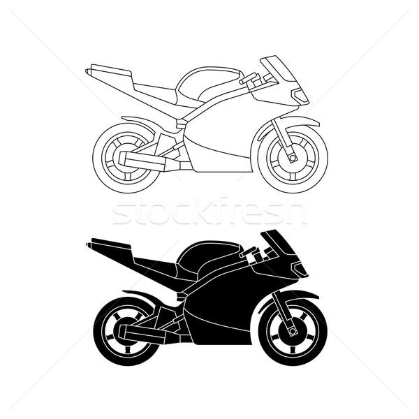 Sport vélo ligne illustration vecteur moto Photo stock © biv