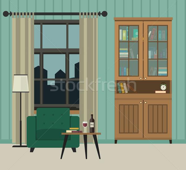 Woonkamer interieur meubels vector banner huis Stockfoto © biv