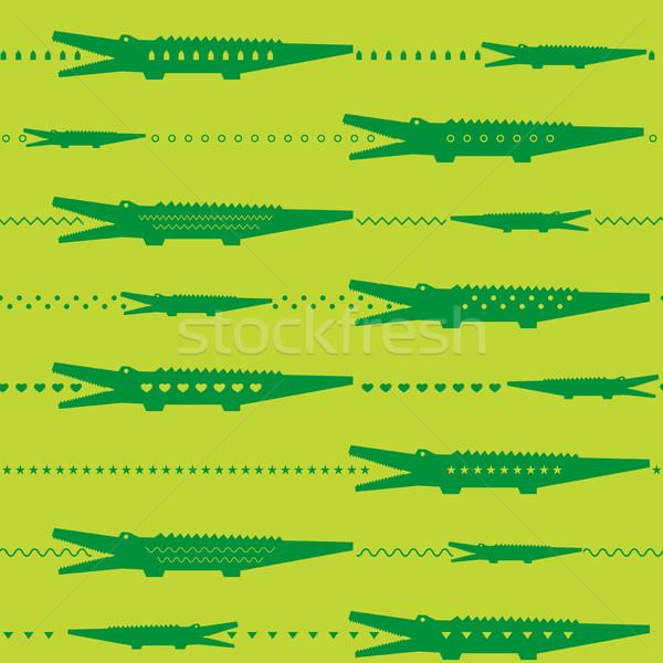 Crocodilo jardim zoológico verde vetor Foto stock © biv