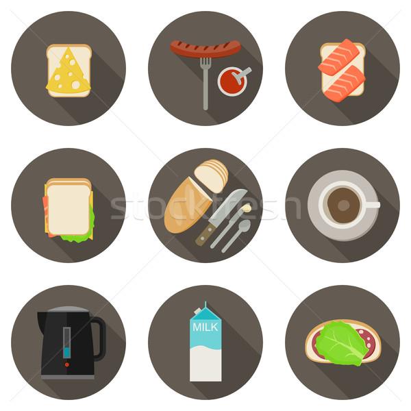 Ontbijt iconen lang schaduwen voedsel Stockfoto © biv