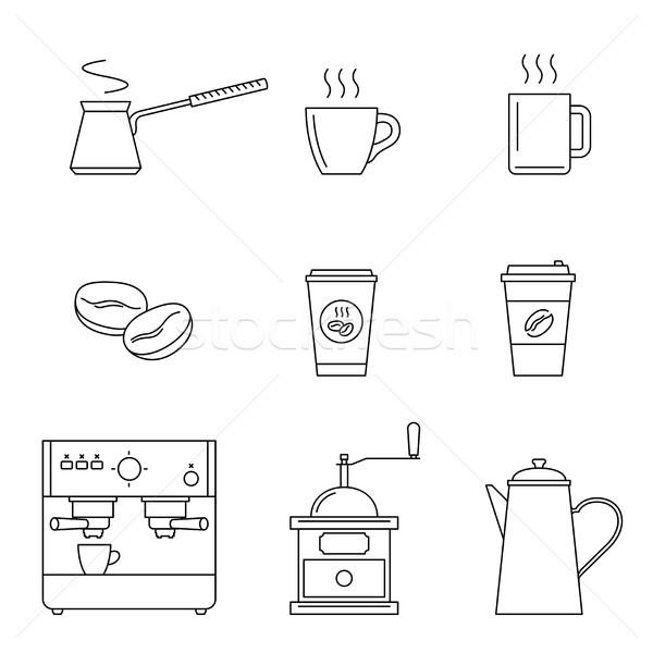 Koffie lijn iconen vector dun Stockfoto © biv