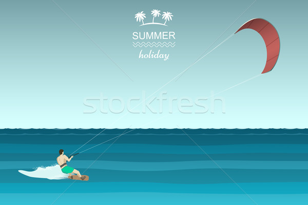 Kitesurfing retro illustration Stock photo © biv