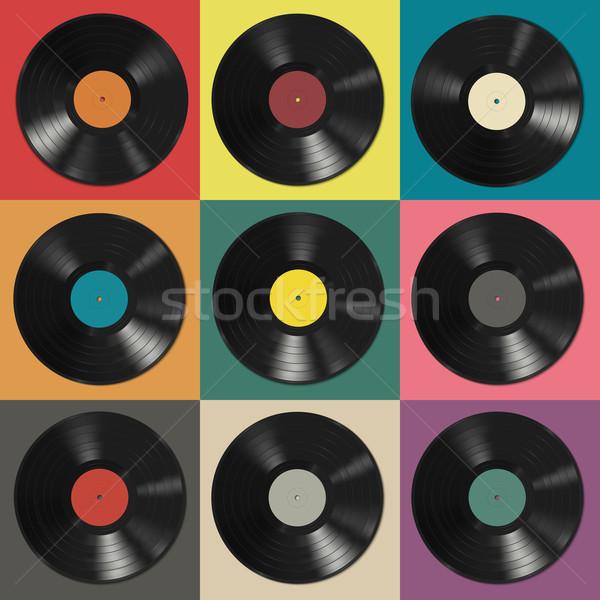 Winylu rekordy kolorowy streszczenie tle Zdjęcia stock © biv