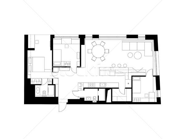 建築の 計画 家具 現代 家 ドア ストックフォト © biv