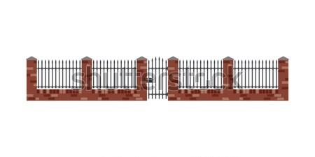 Mattone recinzione cancello stile metal bar Foto d'archivio © biv
