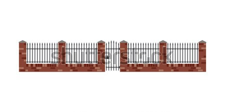 Tijolo cerca portão estilo metal barras Foto stock © biv