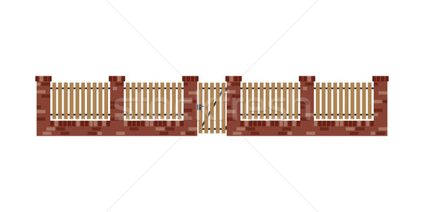 Classic brick fence with wood planks and gate  Stock photo © biv