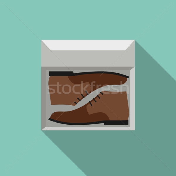 Brown shoes in box Stock photo © biv