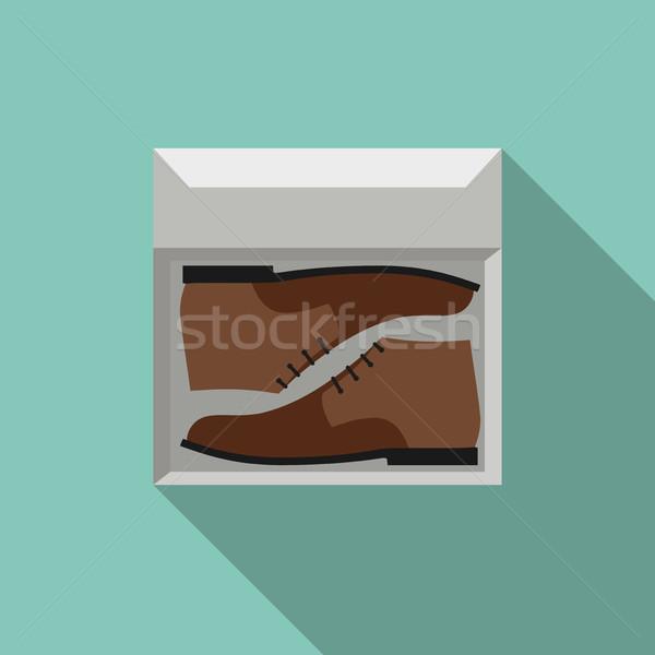 Bruin schoenen vak eenvoudige stijl laarzen Stockfoto © biv