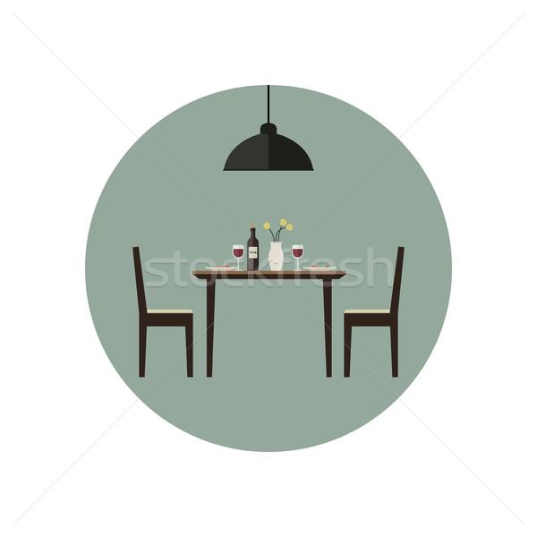Eetkamer icon tabel twee stoelen huis Stockfoto © biv