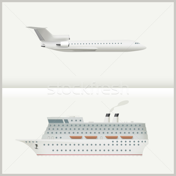 Airplane and cruise liner. Stock photo © biv