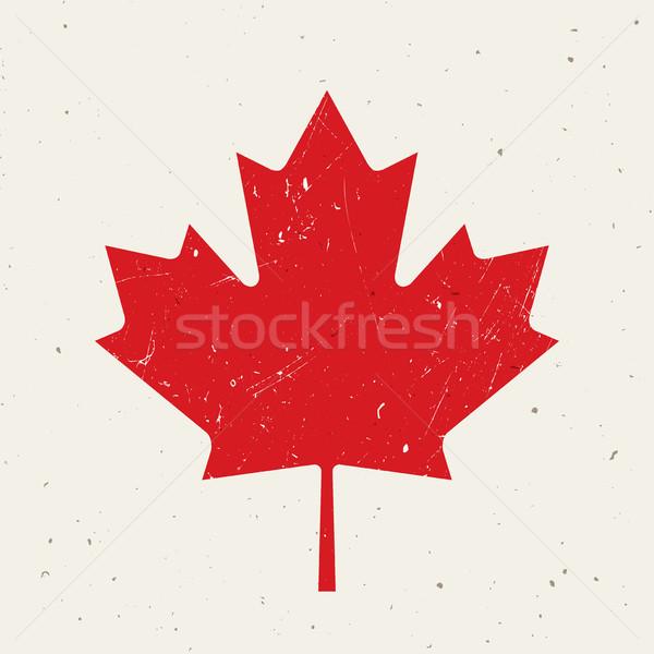 Feuille d'érable drapeau canadien texture grunge design rouge liberté Photo stock © biv