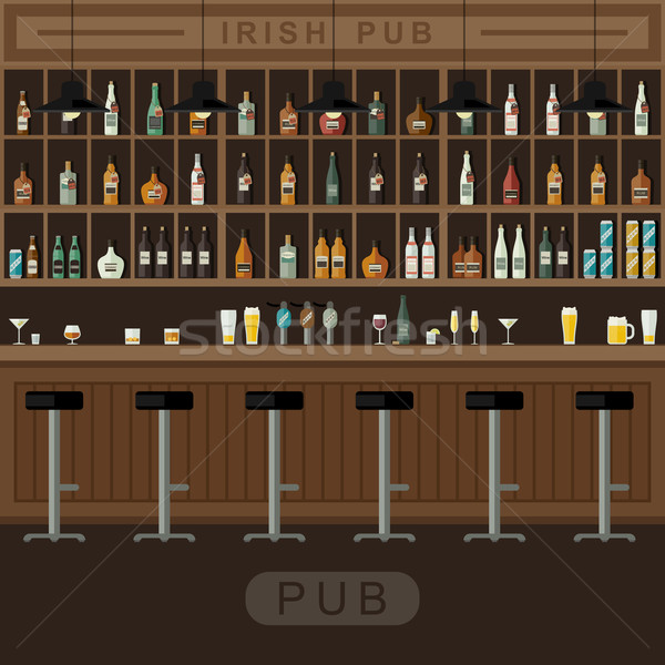 Bar Interior With Counter Vector Illustration C Ilya Bolotov Biv
