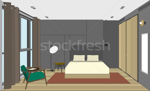 Bedroom perspective view Stock photo © biv