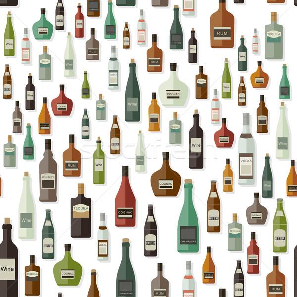 şişeler model içecekler vektör desen kâğıt Stok fotoğraf © biv