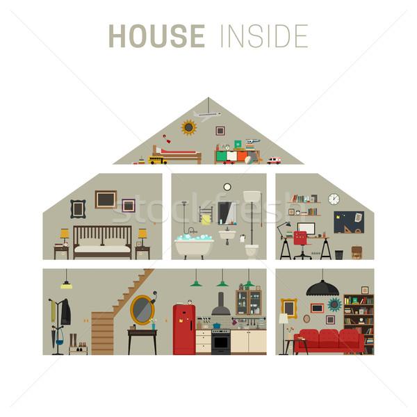 Domu wewnątrz wnętrza cięcia infografiki meble Zdjęcia stock © biv