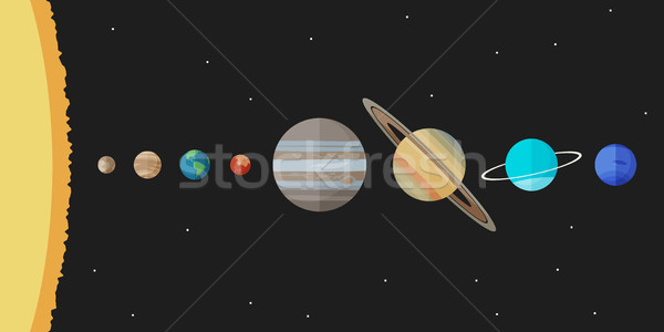 Sistema solar principal planetas estilo vetor simples Foto stock © biv