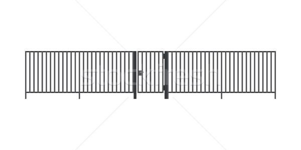 Metal çit kapı stil yalıtılmış beyaz Stok fotoğraf © biv