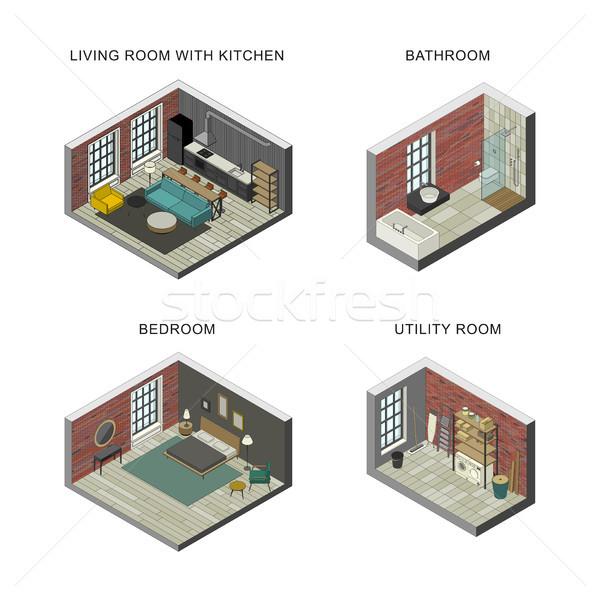 Ingesteld isometrische badkamer woonkamer slaapkamer Stockfoto © biv