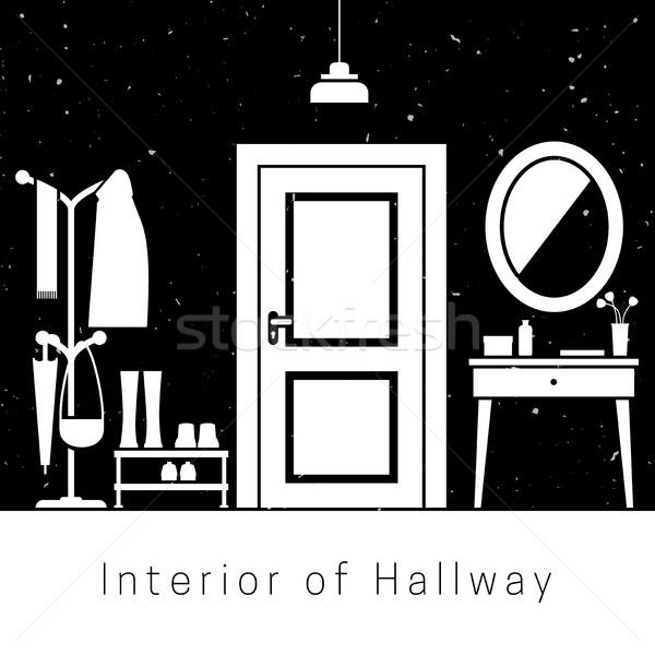 Salon koridor iç beyaz siluet mobilya Stok fotoğraf © biv