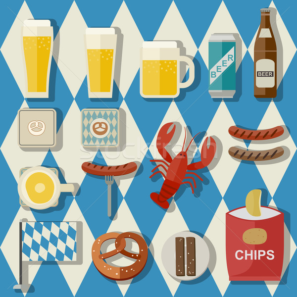 Beer flat icons Stock photo © biv