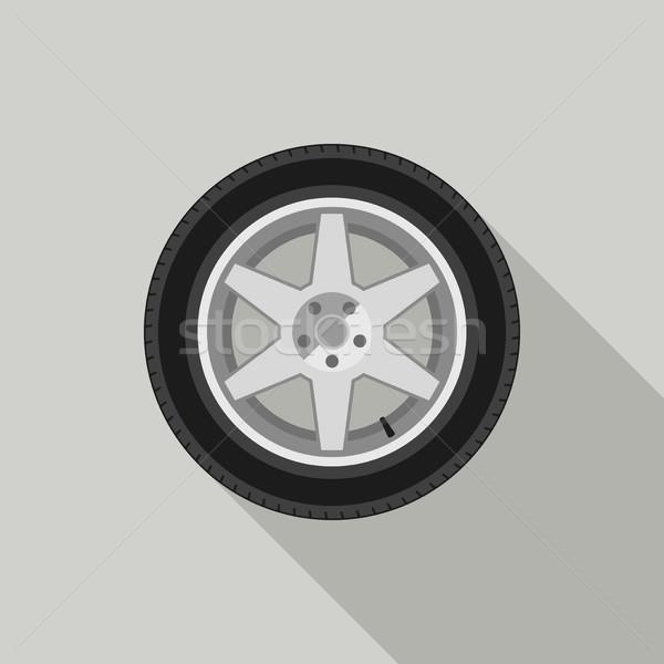 Wheel flat icon Stock photo © biv