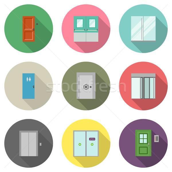 Door flat icons Stock photo © biv
