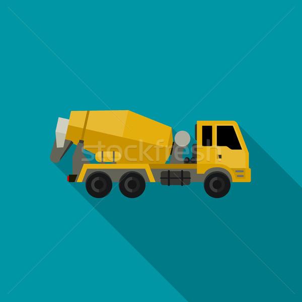 Concrètes mixeur camion style vecteur icône Photo stock © biv