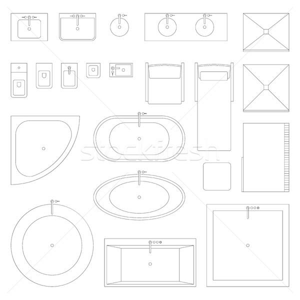 Line interior icons for bathroom. Stock photo © biv