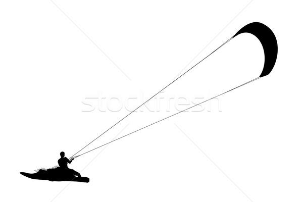 Kitesurfing black silhouette. Stock photo © biv