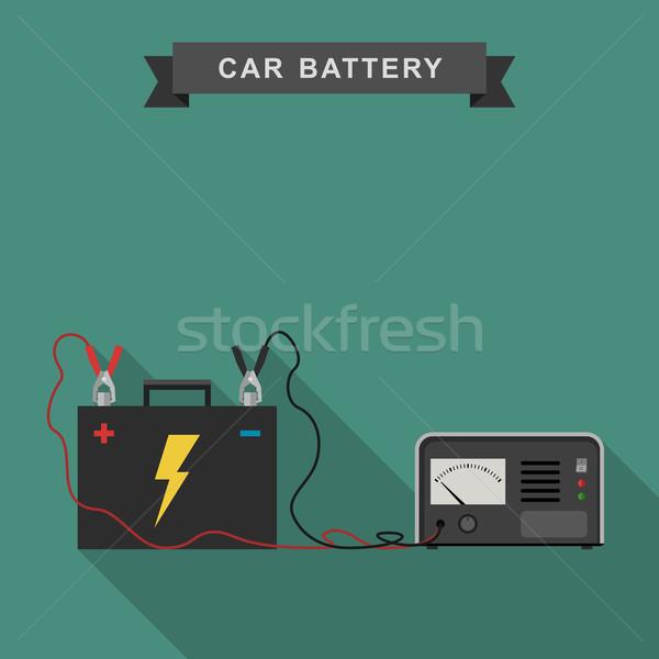 Carro bateria ilustração cabo tecnologia indústria Foto stock © biv