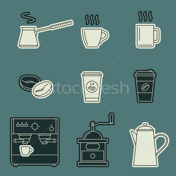 Coffee icons set Stock photo © biv