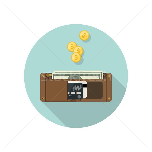 Cartera dinero estilo bolso vector simple Foto stock © biv