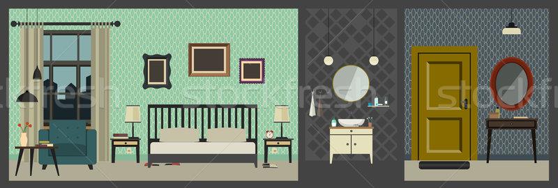 Interior estilo muebles vector apartamento Foto stock © biv