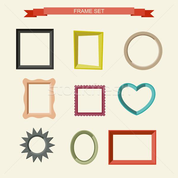 Foto marcos establecer diferente pared diseno Foto stock © biv