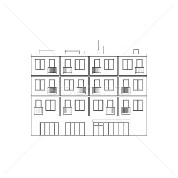 Apartment house line drawing Stock photo © biv