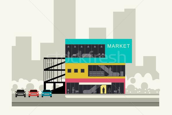 Supermarkt kant van de weg store banner huis gebouw Stockfoto © biv