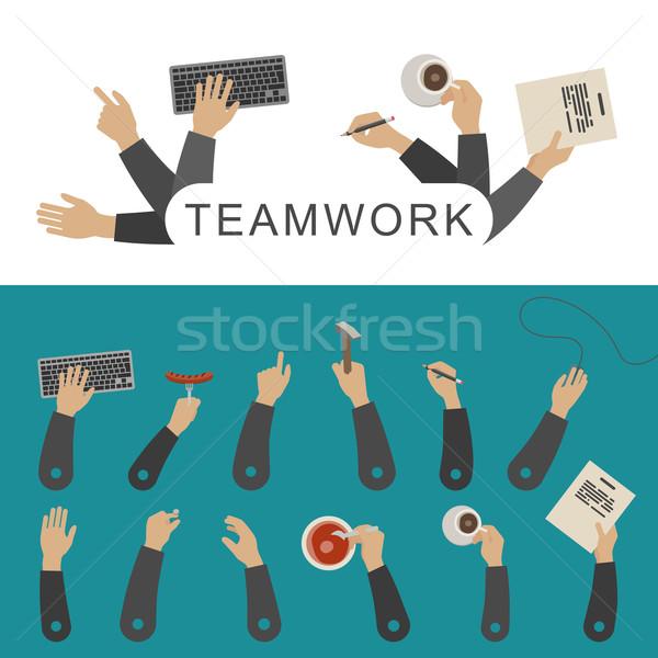 Takım çalışması afiş iş eller basit vektör Stok fotoğraf © biv