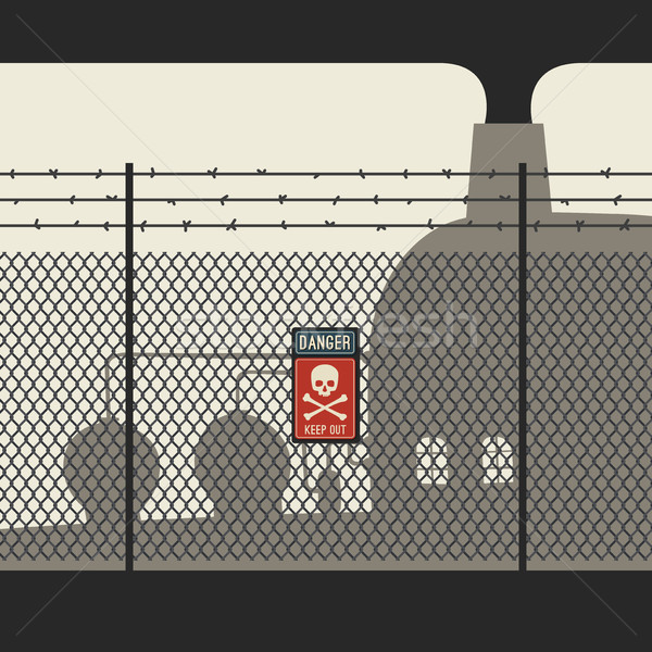 Danger zone with fence Stock photo © biv