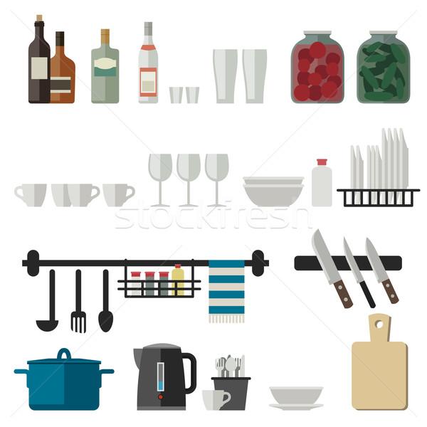Mutfak gereçleri simgeler pişirme ev dizayn Stok fotoğraf © biv