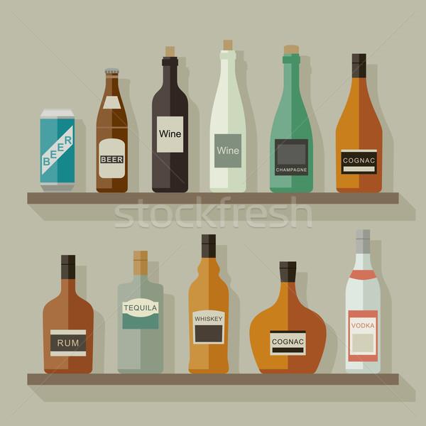 Ikonok italok polcok stílus vektor művészet Stock fotó © biv