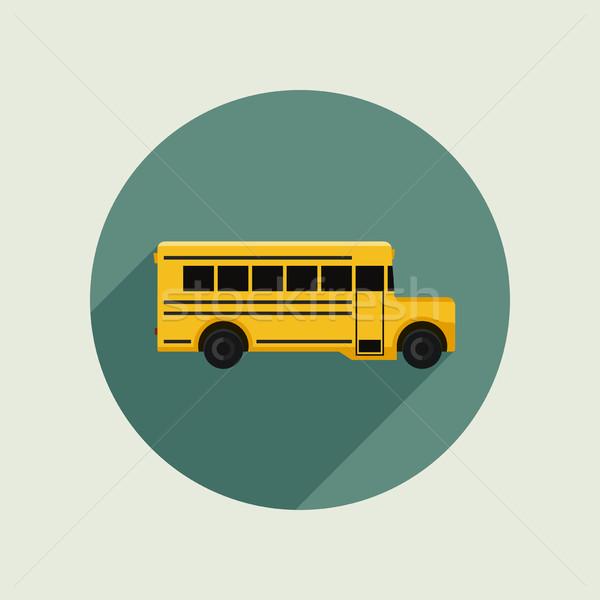 スクールバス アイコン スタイル ベクトル 単純な 実例 ストックフォト © biv
