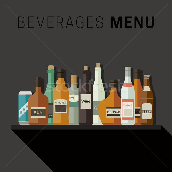 Içecekler menü şişeler simgeler içkiler vektör Stok fotoğraf © biv