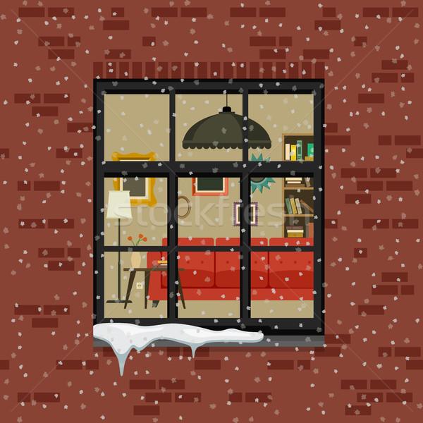 Winter venster muur woonkamer vector Stockfoto © biv