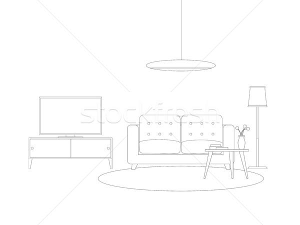 Vonal belső nappali bútor vektor vékony Stock fotó © biv