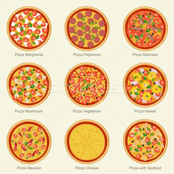 Pizza establecer diferente ingredientes vector Foto stock © biv