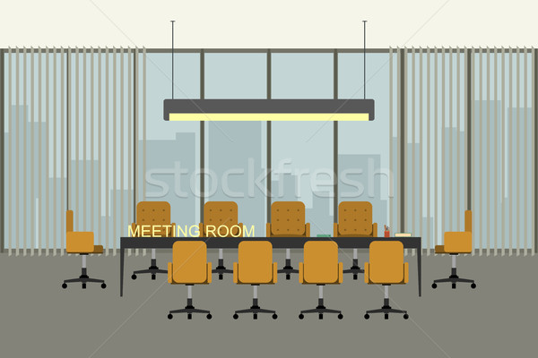 Stock photo: Modern meeting room interior in flat style.