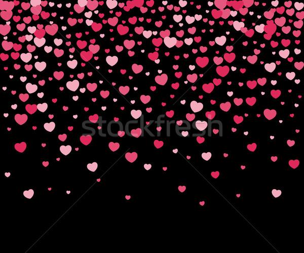Harten confetti vector valentijnsdag zwarte bloem Stockfoto © biv