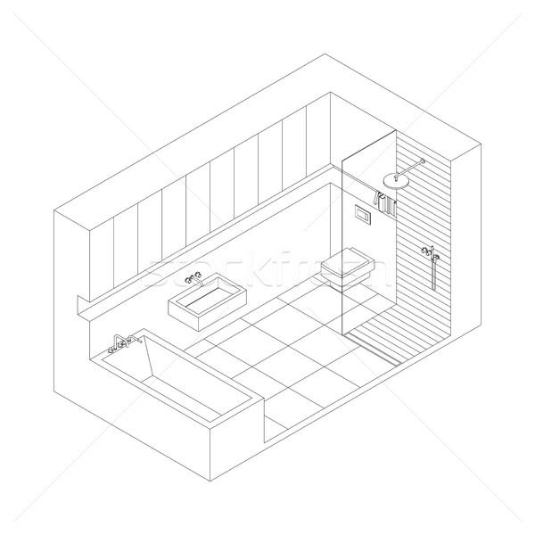 Stockfoto: Badkamer · lijn · tekening · interieur · isometrische